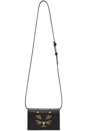 Charlotte Olympia - Black Leather Feline Shoulder Bag