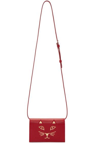 Charlotte Olympia - Red Leather Feline Shoulder Bag