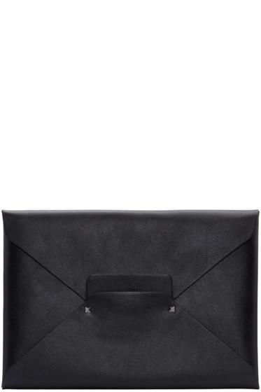 Valentino - Black Leather Envelope Clutch