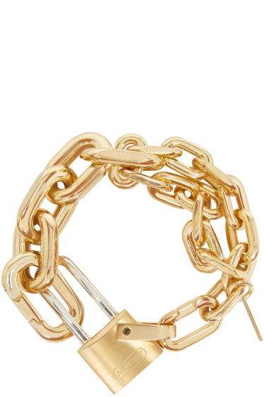 Ambush - Gold Rebel Padlock Chain Bracelet
