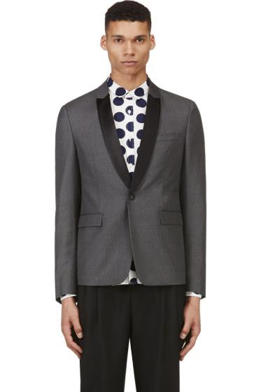 Krisvanassche - Grey Wool Diamond Pinstripe Blazer