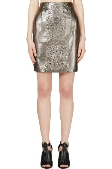 Iris van Herpen - Pewter Embossed Leather Mini Skirt