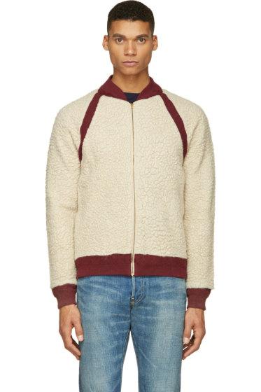 Visvim - Ivory & Burgundy Alces Fleece Bomber Jacket