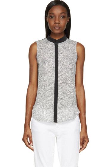 Rag & Bone - Black & Offwhite Washed Silk Kent Shirt