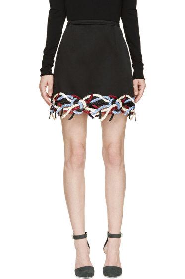 Christopher Kane - Black Embroidered Rope Skirt