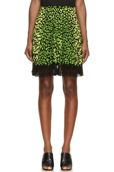 Christopher Kane - Green & Black Animal Spot Skirt