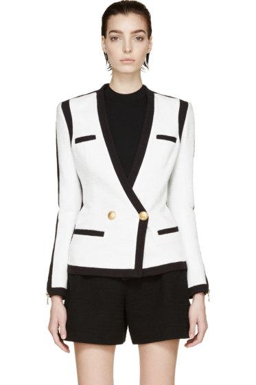 Balmain - Black & White Woven Colorblock Blazer