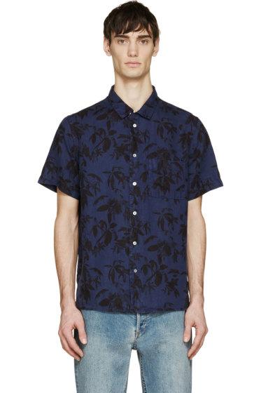 Paul Smith Jeans - Navy Linen Leaf Print Shirt