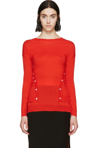 Nina Ricci - Red Knit Button-Up Sweater
