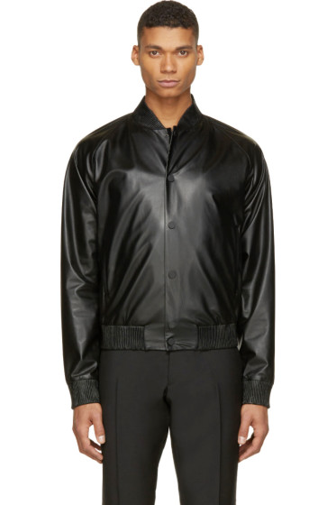 Calvin Klein Collection - Black Leather Bomber Jacket