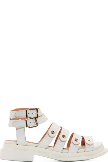 Robert Clergerie - White Leather Grommet Strap Caroube Sandals