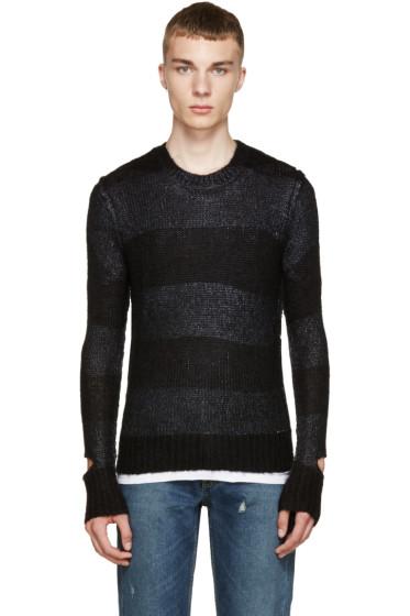 Diesel - Black & Blue Knit Striped Sweater