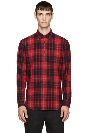Dsquared2 - Red & Navy Wool Plaid Relax Dan Shirt