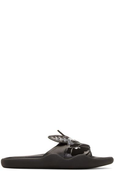 Christopher Kane - Black Leather Art Nouveau Sandals