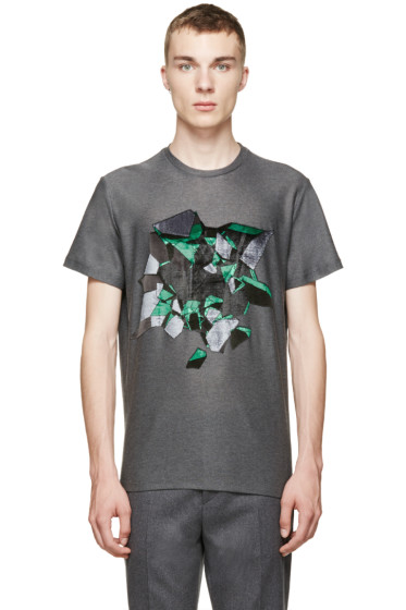 Christopher Kane - Grey Embroidered Wallbreak T-Shirt