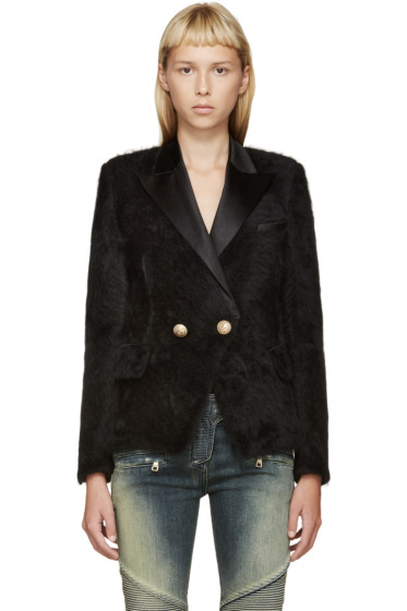 Balmain - Black Angora & Silk Blazer