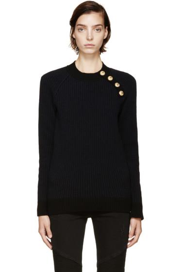 Balmain - Black & Navy Merino Wool Sweater