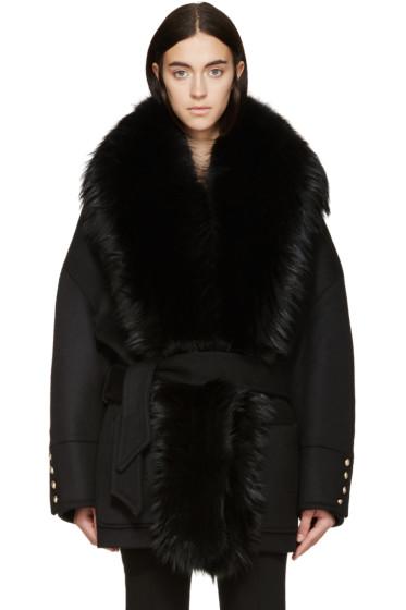 Balmain - Black Wool & Fur Coat
