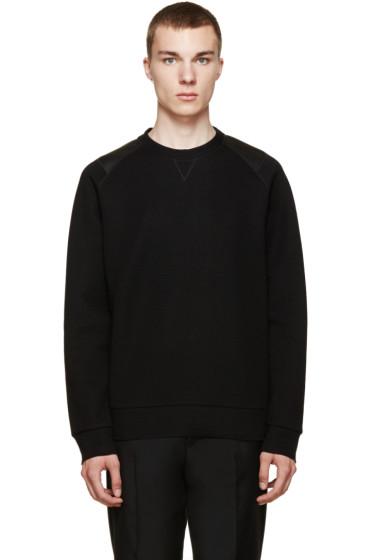 Lanvin - Black Leather Panelled Sweatshirt