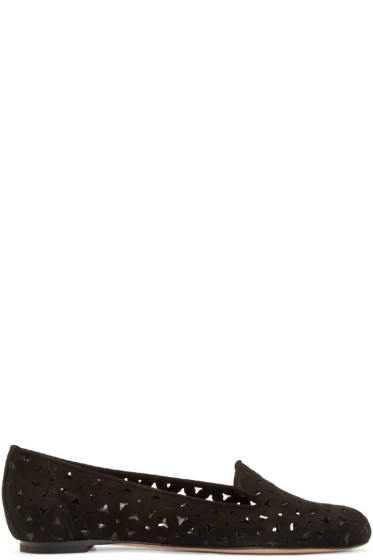 Alexander McQueen - Black Perforated Suede Loafers