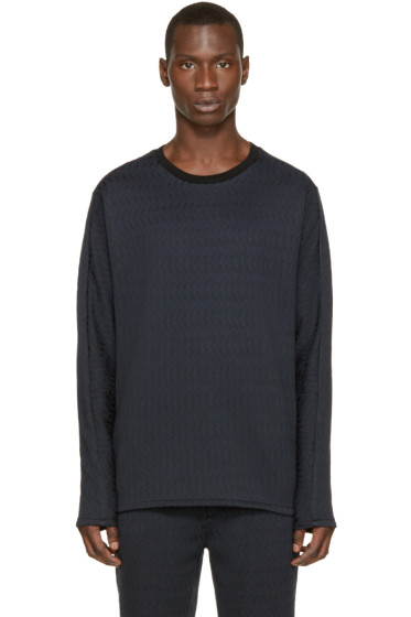3.1 Phillip Lim -  Navy & Black Brocade Pullover