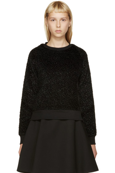 Carven - Black Faux-Astrakhan Sweater