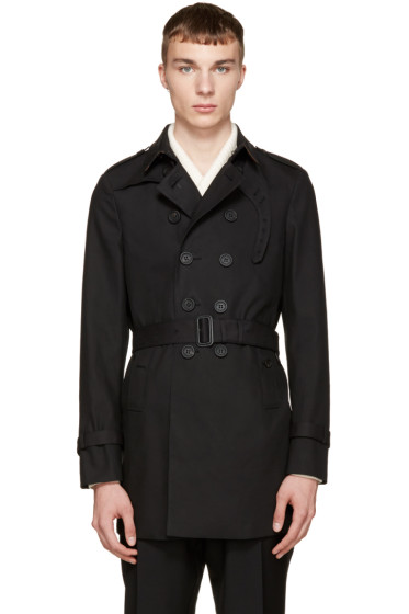 Burberry Prorsum - Black Camo Collar Trench Coat