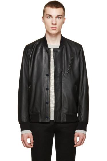 Paul Smith Jeans - Black Leather Stadium Jacket