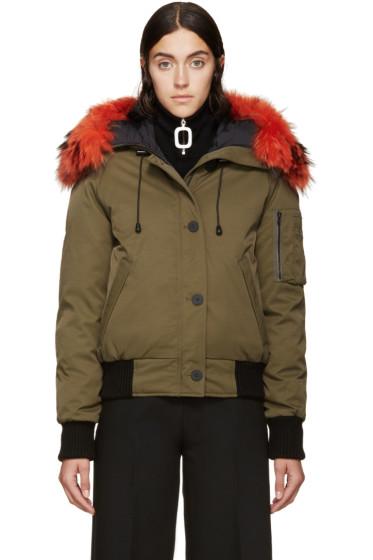 Kenzo - Green  & Orange Fur Trimmed Down Coat