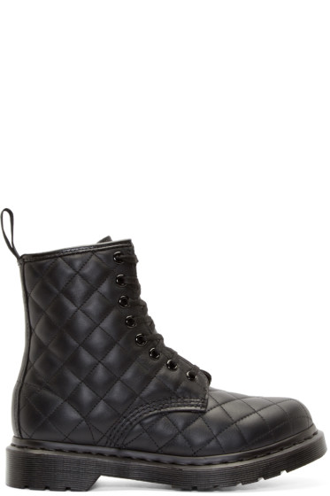 Dr. Martens - Black Quilted 8-Eye Coralie Boots