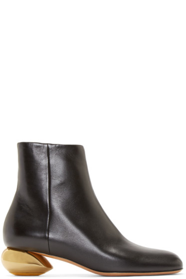 Valentino - Black Leather Sculpture Ankle Boots