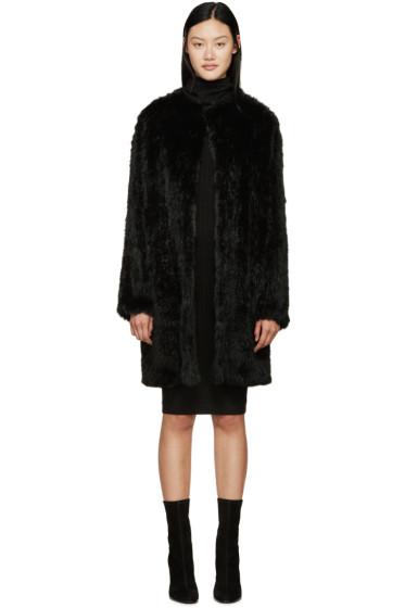 Meteo by Yves Salomon - Black Knit Fur Coat