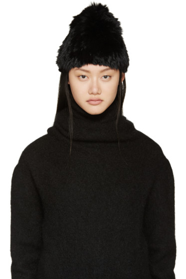 Meteo by Yves Salomon - Black Knitted Rabbit Fur Toque