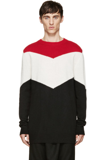 D.Gnak by Kang.D - Tricolor Chevron Knit Sweater