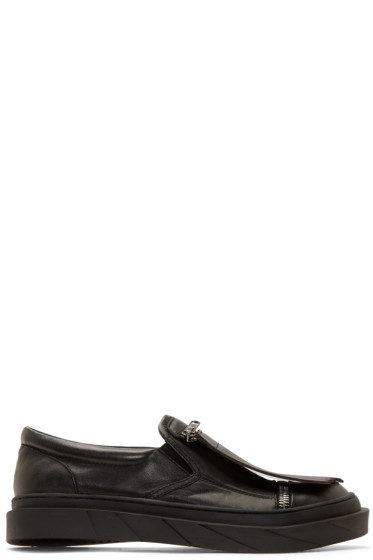 D.Gnak by Kang.D - Black Leather Fringed Slip-On Sneakers