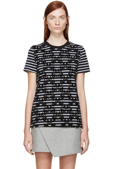 Mother of Pearl - Navy & White Striped Appliqué Joshua T-Shirt