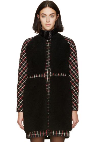 Moncler Gamme Rouge - Black & Red Tartan Shearling Coat