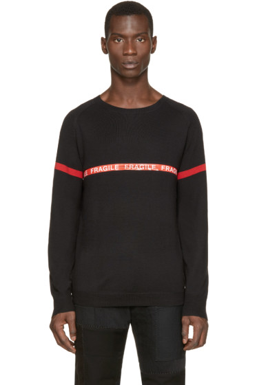 Christian Dada - Black Zipped Stripe Sweater