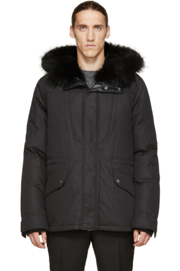 Yves Salomon - Black Fur-Lined Parka