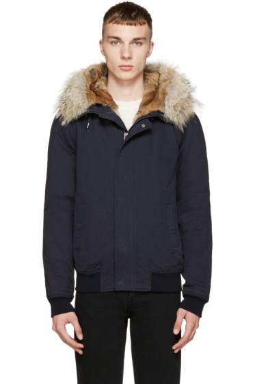 Yves Salomon - Navy Fur-Trimmed Layered Bomber Jacket
