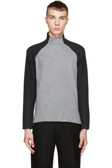 Johnlawrencesullivan - Grey & Black Felted Wool Sweater