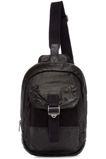 Diesel - Black Leather L-BREAKING Mono Backpack