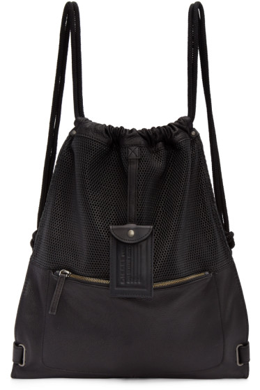 Diesel - Black Leather Twice Backpack