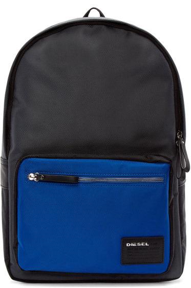 Diesel - Grey & Blue Nylon Drum Roll Backpack