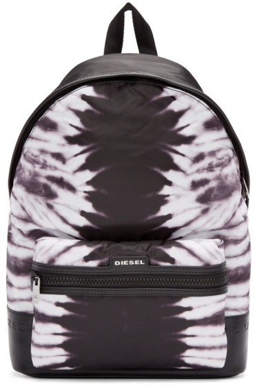 Diesel - Black & White Nylon Jungle Backpack