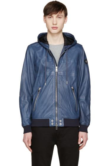 Diesel - Blue Leather Collins Hoodie