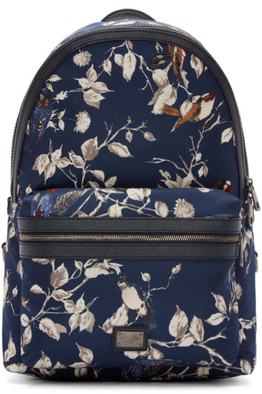Dolce & Gabbana - Navy Nylon Floral Backpack
