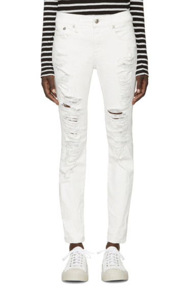 R13 - White Distressed Relaxed Skinny Jeans