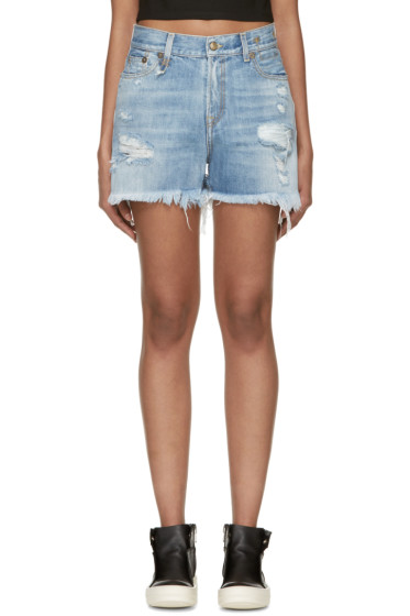 R13 - Blue Shredded Slouch Short