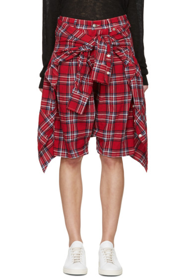 R13 - Red Layered Vedder Shorts